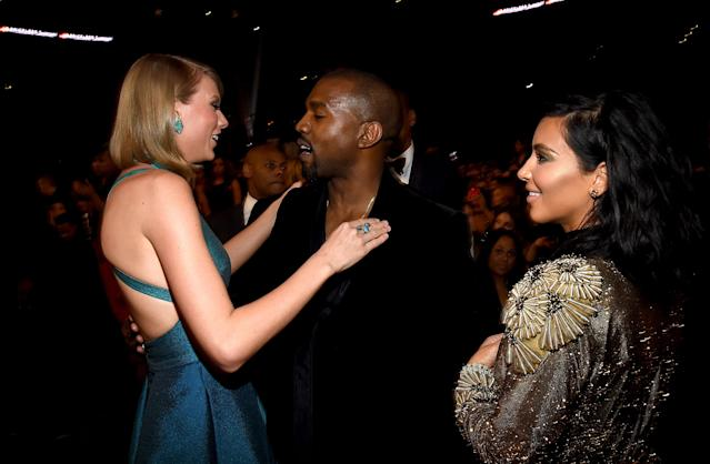 Taylor Swift, Kanye West and Kim Kardashian at 2015 Grammys. (Photo: Larry Busacca/Getty Images for NARAS)