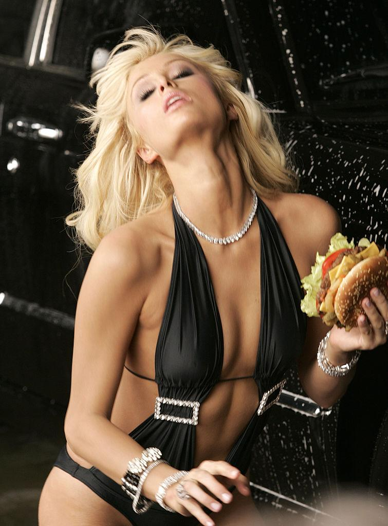 Paris Hilton in a bathing suit in a Carl's Jr. ad