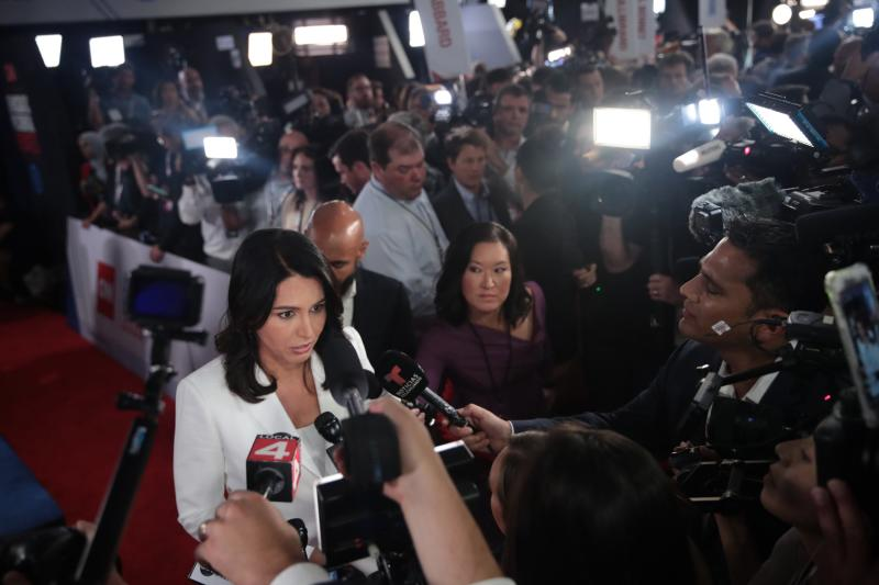 Tulsi Gabbard talks to reporters after the second Democratic debate in Detroit: Getty Images
