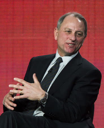 """FILE PHOTO: Fager of the show """"60 Minutes Sports"""" speaks during the Showtime panel presentation of the 2013 Winter TV Critics Association Press Tour in Pasadena"""