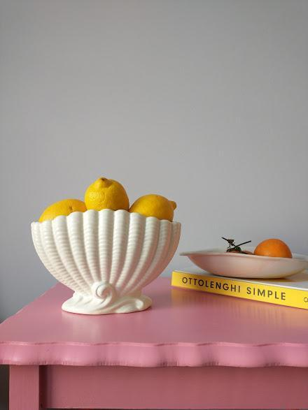 """Chloe sources and curates such beautiful vintage pieces, it takes all my willpower not to browse her site daily. This shell fruit bowl would look perfect on my new (Gumtree bargain) dining table. <br><br><br><br><strong>Falcon England</strong> Shell Vase, $, available at <a href=""""https://www.scenebychloe.com/kitchen-bar/shell-vase"""" rel=""""nofollow noopener"""" target=""""_blank"""" data-ylk=""""slk:Scene By Chloe"""" class=""""link rapid-noclick-resp"""">Scene By Chloe</a>"""
