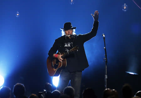 Neil Young performs during the 2015 MusiCares Person of the Year tribute honoring Bob Dylan in Los Angeles