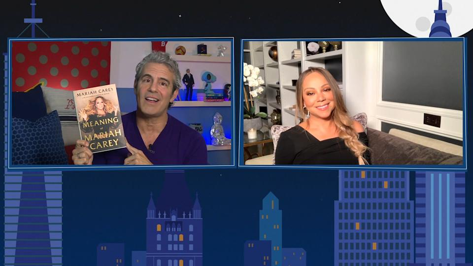 WATCH WHAT HAPPENS LIVE WITH ANDY COHEN @ HOME -- Episode 17161 -- Pictured in this screen grab: (l-r) Andy Cohen, Mariah Carey -- (Photo by: Bravo/NBCU Photo Bank via Getty Images)