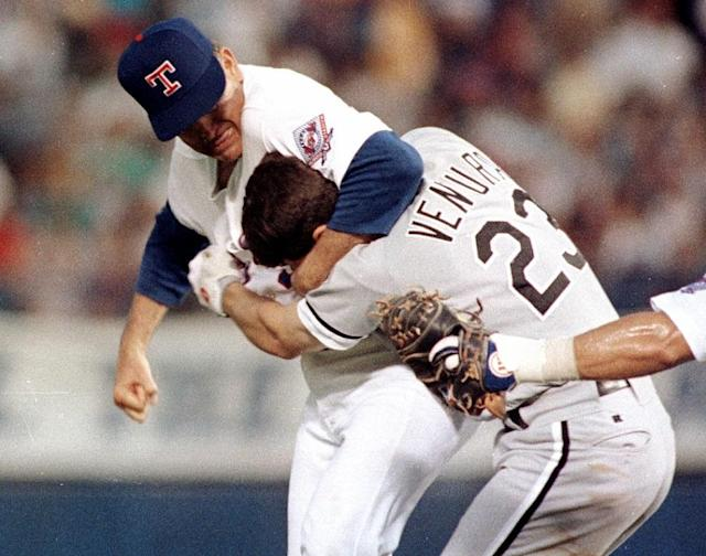 On Aug. 4, 1993, Hall of Fame pitcher Nolan Ryan grabbed a headlock on the charging Robin Ventura during one of MLB's most infamous brawls. (AP)