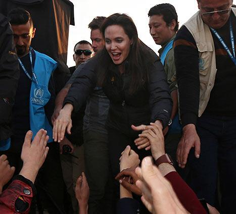 Angelina Jolie greeted refugees at the Khanke Camp in northern Iraq on Jan. 25.