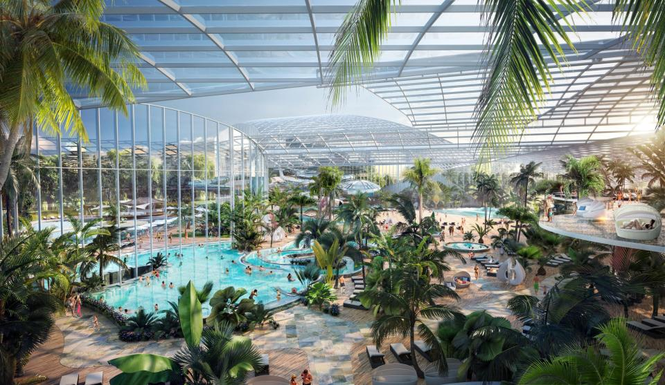 The vast 'urban oasis' will be the UK's first city-based wellbeing resort which will sprawl across a huge 28-acre site next to the shopping mall at Barton Square in Manchester. (Reach)