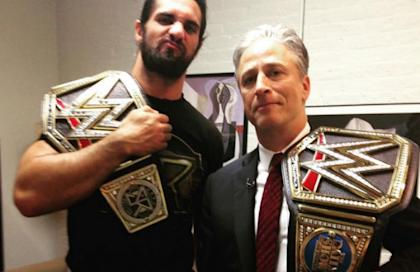 WWE champ Seth Rollins might want to watch his back on Sunday with Jon Stewart around.