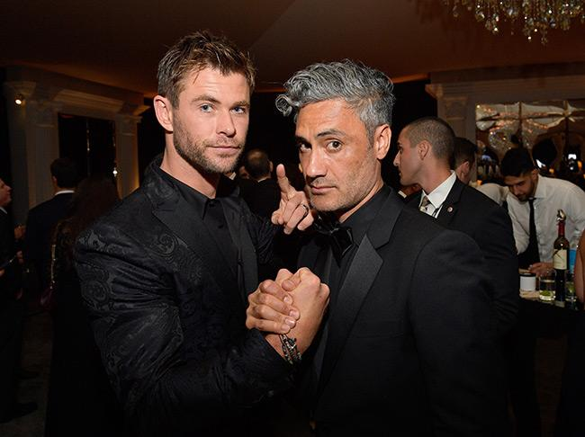 Chris Hemsworth snapped a photo of himself on a date with Taika Waititi