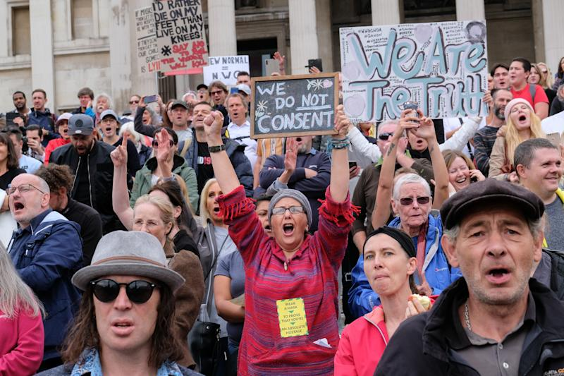 Unite for Freedom protesters in Trafalgar Square, demanding an end to lockdown, vaccines, masks and social distancing. (Getty)