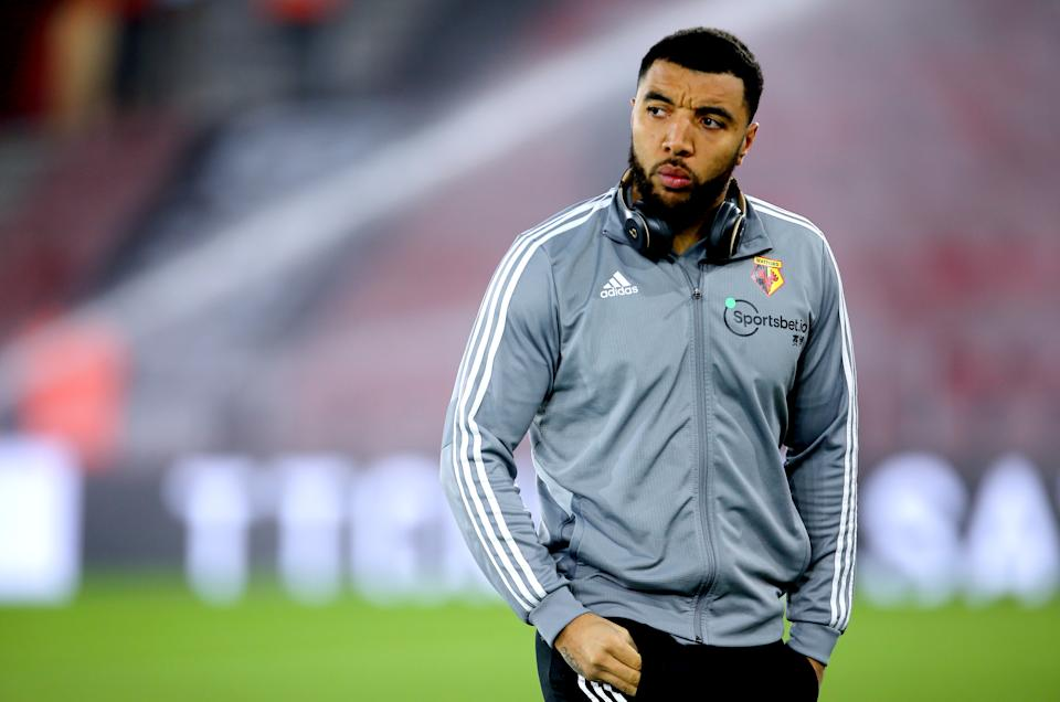 Watford's Troy Deeney inspects the pitch prior to the beginning of the Premier League match at St Mary's. Southampton. (Photo by Mark Kerton/PA Images via Getty Images)