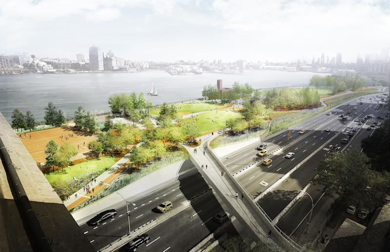 Resiliency by design is paramount. For some cities, the water will come. In others, living with far less of it will become essential. How do we design in the face of rapidly changing climate and extreme weather? Bjarke Ingels Group has an idea: Go with the flow. After Hurricane Sandy in 2012 revealed multiple structural and environmental vulnerabilities in New York City's infrastructure, developing solutions to protect residents from future events became a priority. Now, BIG is helping to redesign a 10-mile stretch of coastline around Manhattan's southern tip. The Big U, as the project is known, carves out green, active, and cultural spaces that the public can use in fair weather; during a storm, its protective walls and resilient plantings can absorb rising tides and protect the city.
