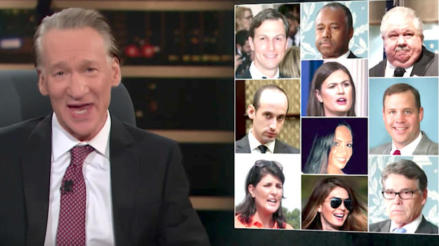 """Real Time"" host Bill Maher checked in on how key members of President Donald Trump's administration were faring in their roles on Friday night."