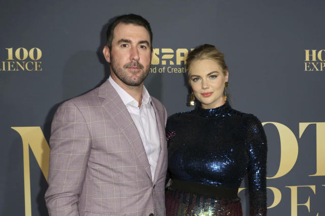 "<a class=""link rapid-noclick-resp"" href=""/mlb/players/7590/"" data-ylk=""slk:Justin Verlander"">Justin Verlander</a> (L) opened up on his relationship with Kate Upton. (AP)"