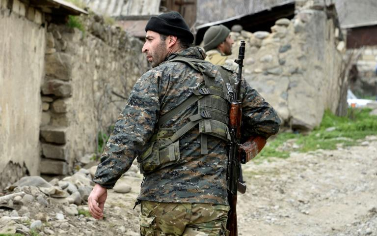 A soldiers from the defense army of Nagorny Karabakh, the breakaway region Azerbaijan has repeatedly threatened to take back by force