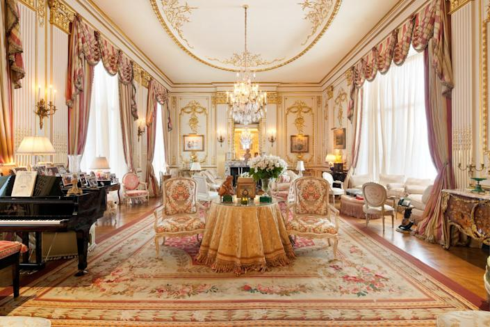 Gilded paneling can be found throughout the home.