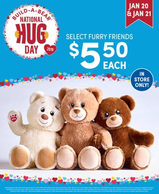 This National Hug Day (Jan. 21), Build-A-Bear Workshop® is spreading heart, hugs and happiness with a special two-day deal during which Guests can make their own Lil' Cub® teddy bear—and make a wish on a colorful, limited-edition heart before placing it inside—for just $5.50 USD /$5.50 CAD/£5.50 GBP/€5.50 IEP/59kr DKK each, in U.S., U.K., Canada, Ireland and Denmark stores Jan. 20 and 21*!
