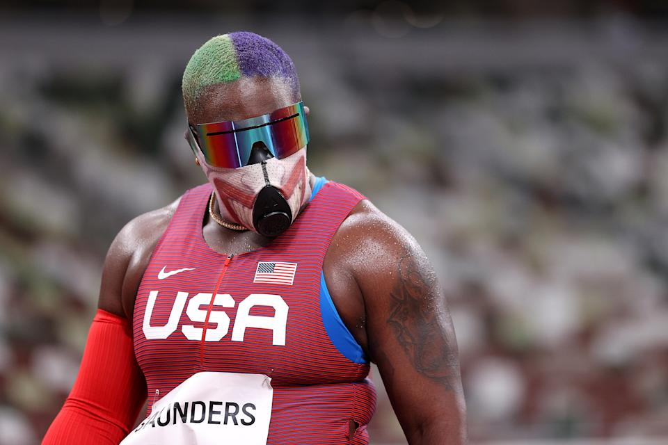 Raven Saunders advanced to the Olympic shot put final in style. (Photo by Patrick Smith/Getty Images)