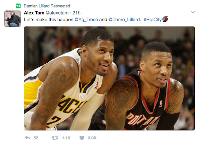 Damian Lillard seconded this fan's suggestion that the Blazers go after Paul George. (Twitter)