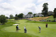 Bubba Watson hits from the first fairway during the third round of the Travelers Championship golf tournament at TPC River Highlands, Saturday, June 26, 2021, in Cromwell, Conn. (AP Photo/John Minchillo)