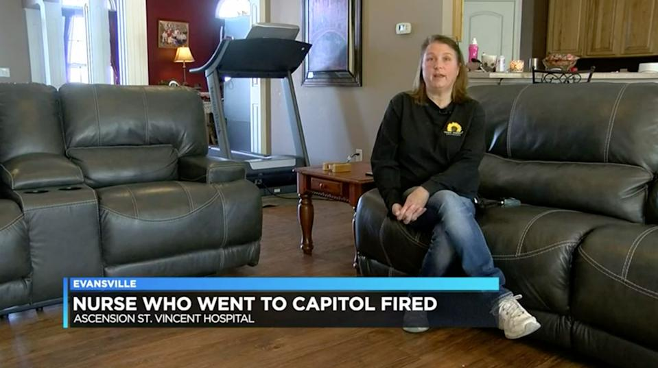 Lori Vinson is pictured. She claims she was fired as a nurse after sharing footage from inside the US Capitol.