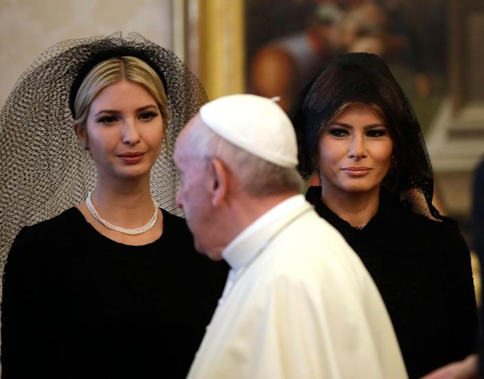 <p>Pope Francis walks past Ivanka Trump, left, and First Lady Melania Trump on the occasion of the private audience with President Donald Trump, at the Vatican, Wednesday, May 24, 2017. (Photo: Alessandra Tarantino, Pool/AP) </p>