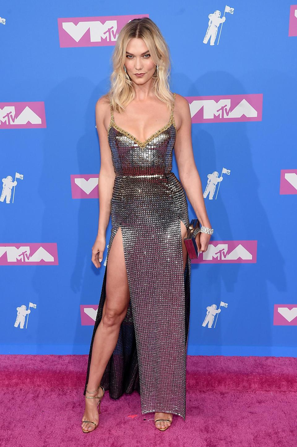 <p>The supermodel worked a daring, double-split chainmail dress by Elie Saab. <em>[Photo: Getty]</em> </p>