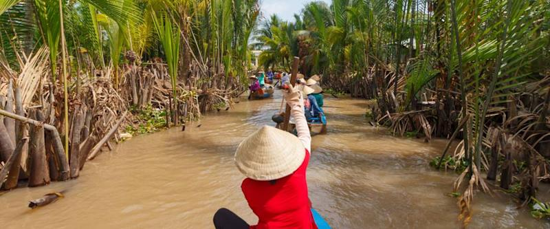 boat tour for tourists in mekong delta near Ho Chi Minh City, Saigon, Vietnam