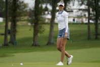 Nelly Korda reacts after missing her putt on the 10th green in the second round of the Cognizant Founders Cup LPGA golf tournament, Friday, Oct. 8, 2021, in West Caldwell, N.J. (AP Photo/John Minchillo)
