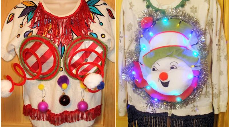 "Some of Anne Marie Blackman's early ugly Christmas sweater designs, including one of the ""springy boobie sweaters."" (Photo: Courtesy of Anne Marie Blackman)"