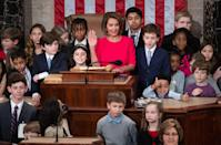 <p>Pelosi takes the oath as Speaker of the House at the closing of the 116th Congress surrounded by the children and grandchildren of fellow lawmakers. </p>