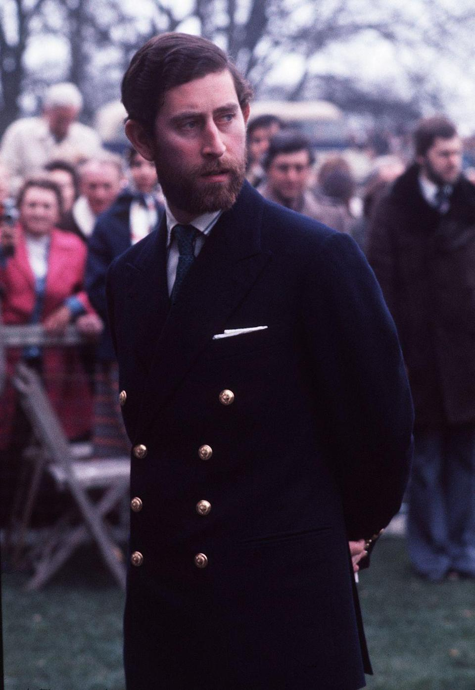 <p>Prince Charles sported a naval-inspired blazer to the Badminton Horse Trials in May 1976.</p>