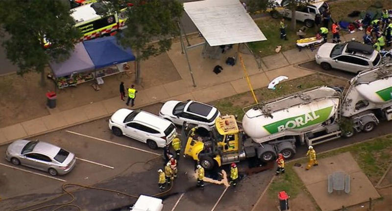 The truck reportedly hit several parked cars at the rest stop along the Hume Highway. Source: 9News