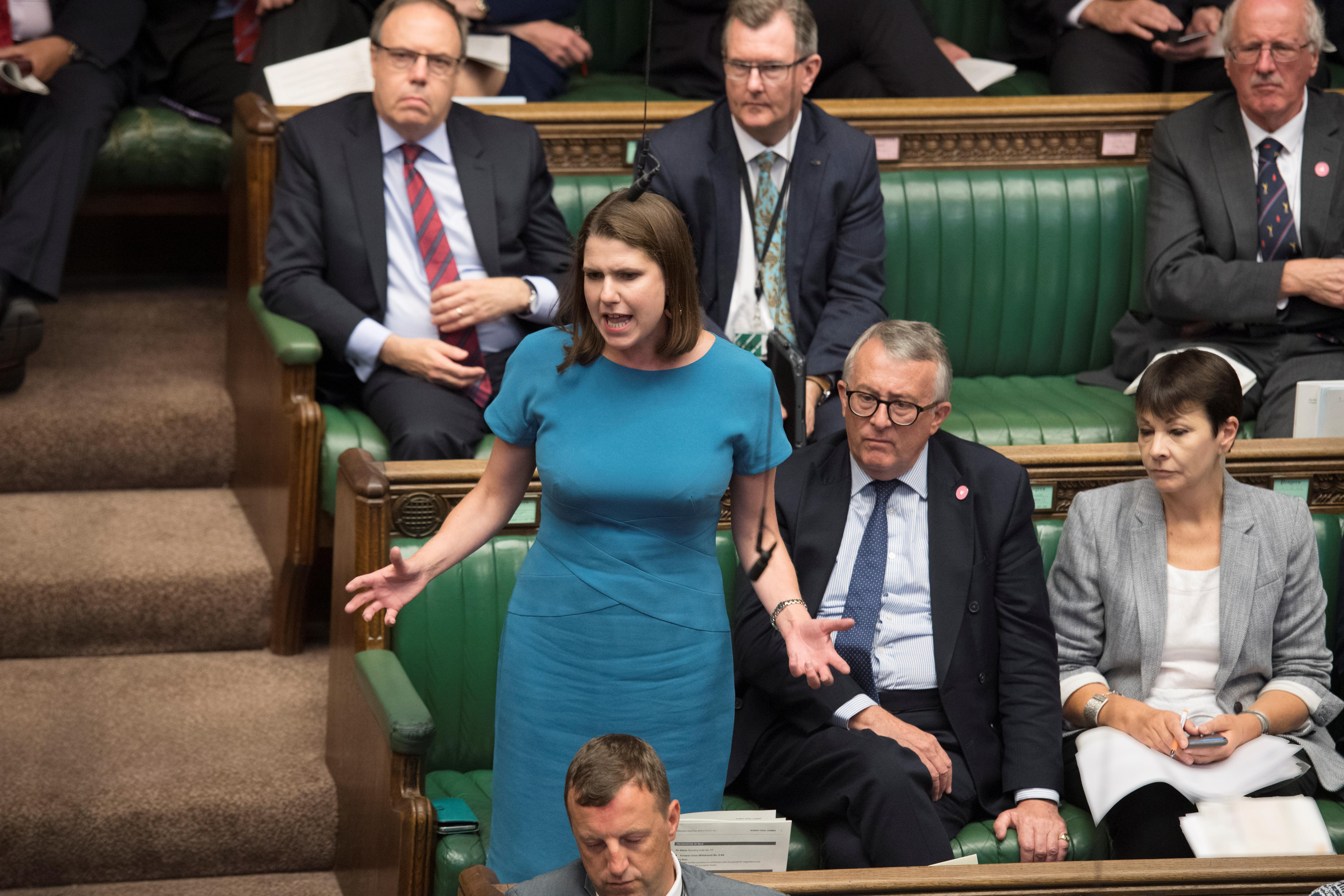 Britain's Liberal Democrat leader Jo Swinson speaks during Prime Minister's Questions session in the House of Commons in London, Britain September 4, 2019. ©UK Parliament/Jessica Taylor/Handout via REUTERS ATTENTION EDITORS - THIS IMAGE WAS PROVIDED BY A THIRD PARTY