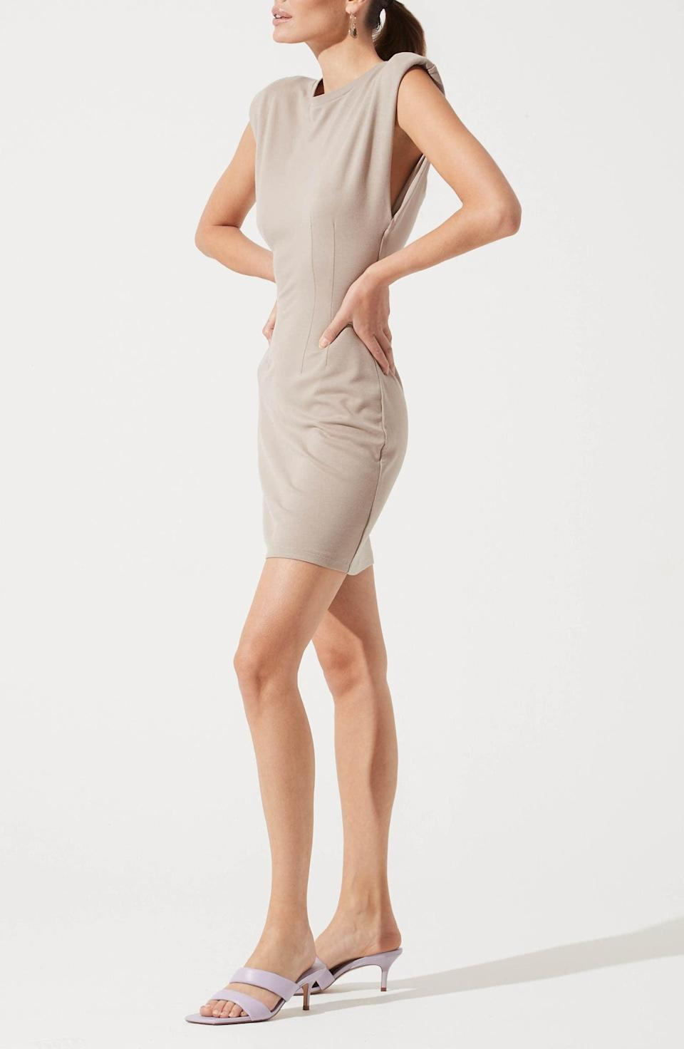 <p>The boxy fit and refined bodice of this <span>ASTR the Label Padded Shoulder Knit Sheath Dress</span> ($55) make it a step above the rest.</p>
