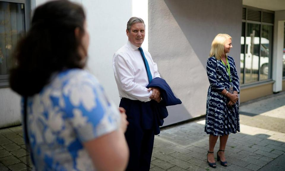 Keir Starmer talks with teachers and parents in Wakefield ahead of A-level results day.