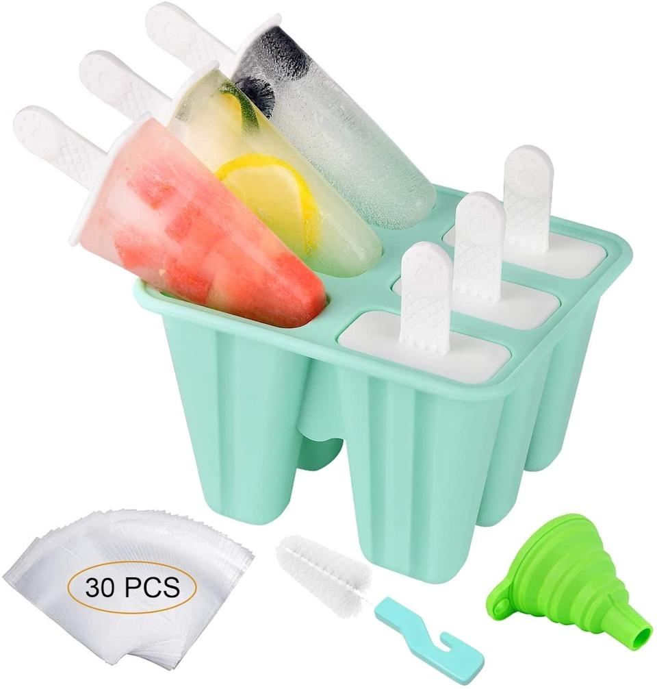 <p>Make refreshing and yummy ice pops with the reuseable <span> Silicone Popsicle Molds Ice Pop Maker</span> ($7, originally $10). It comes with 30 popsicle bags, a funnel and a cleaning brush.</p>