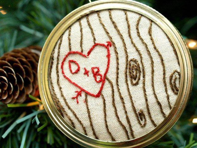"""<p>How clever is this idea!? """"Carve"""" initials onto an embroidery hoop with thread, then attach to a Mason jar lid for a sweet and romantic ornament. </p><p><strong>Get the tutorial at <a href=""""http://missloviecreations.blogspot.com/2011/12/anniversary-event-guest-flamingo-toes.html"""" rel=""""nofollow noopener"""" target=""""_blank"""" data-ylk=""""slk:Miss Lovie Creations"""" class=""""link rapid-noclick-resp"""">Miss Lovie Creations</a>.</strong></p><p><a class=""""link rapid-noclick-resp"""" href=""""https://www.amazon.com/Caydo-Embroidery-Skeins-Rainbow-Bobbins/dp/B07568BVWP/?tag=syn-yahoo-20&ascsubtag=%5Bartid%7C10050.g.2132%5Bsrc%7Cyahoo-us"""" rel=""""nofollow noopener"""" target=""""_blank"""" data-ylk=""""slk:SHOP EMBROIDERY FLOSS"""">SHOP EMBROIDERY FLOSS</a></p>"""