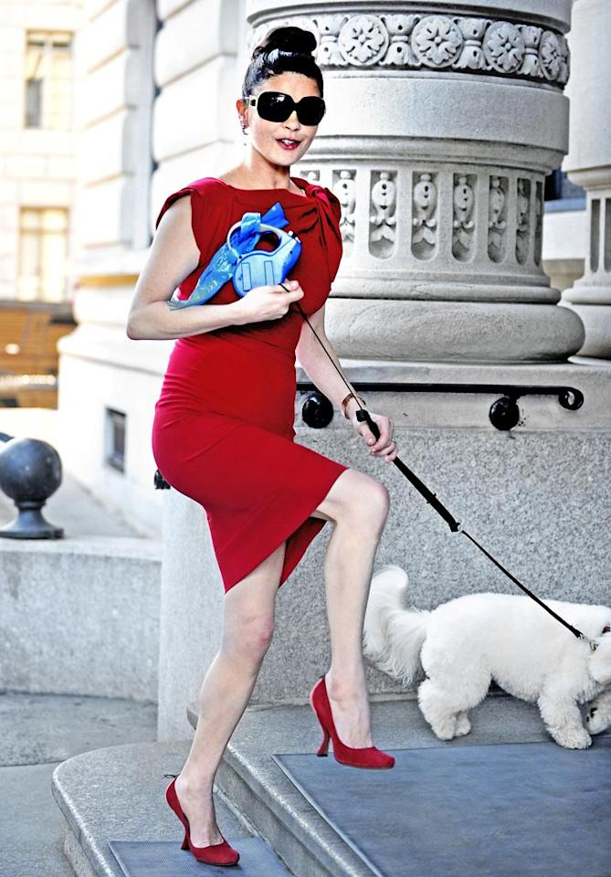 "Catherine Zeta-Jones, who just wrapped up her Tony-winning Broadway run in ""A Little Night Music,"" was recently spotted out and about with her prized pooch, Bichon Frise B. Coconut, in this ravishing red outfit. Who knew that walking a dog could look this glamorous? Ron Asadorian-Eddie Mejia/<a href=""http://www.splashnewsonline.com"" target=""new"">Splash News</a> - June 20, 2010"