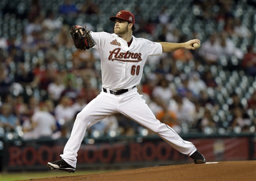 Houston Astros starting pitcher Dallas Keuchel throws during the first inning of a baseball game against the Philadelphia Phillies, Saturday, Sept. 15, 2012, in Houston. (AP Photo/David J. Phillip)
