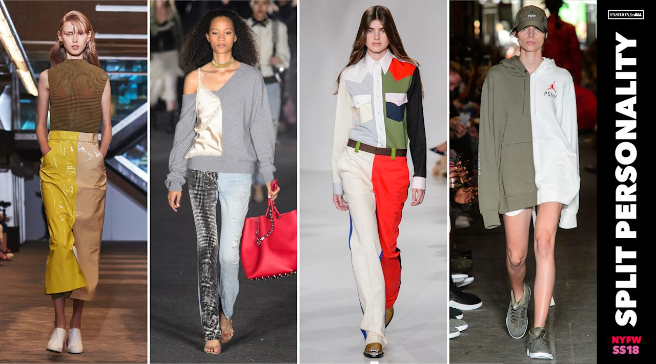 <p><i>Split colored trousers and hoodies like those seen at Calvin Klein and Public School prove that mismatching fabrics and shades are no longer relegated to Halloween. You can easily DIY your own version if you prefer to forgo the designer route. (Photo: ImaxTree) </i></p>