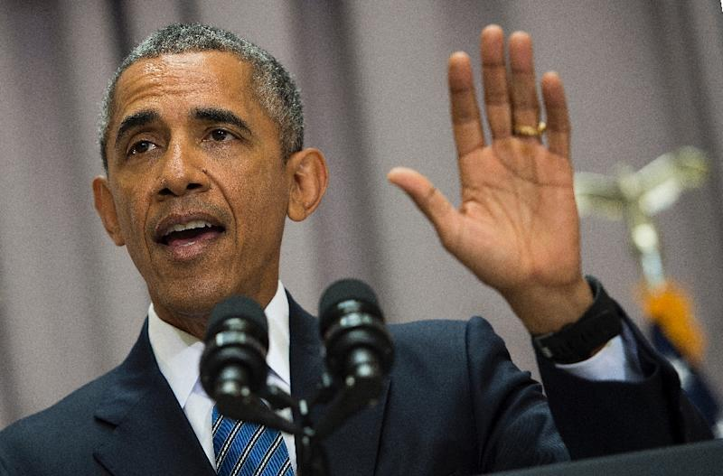 US President Barack Obama speaks on the nuclear deal reached with Iran at American University in Washington, DC, August 5, 2015 (AFP Photo/Jim Watson)
