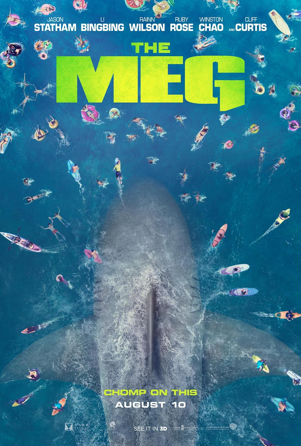<i>The Meg</i> opens this summer, beginning on August 10, in 2D and 3D in select theatres and IMAX. (WB)
