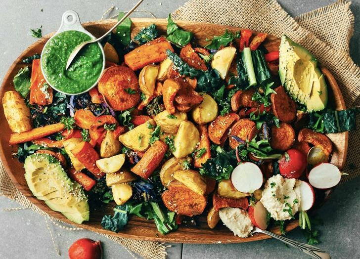 """<h2>24. Roasted Vegetable Salad with Magic Green Sauce</h2> <div class=""""entry-key-categories-and-jump"""">Put those vegetables you've had in the fridge to good use.</div> <p><a class=""""link rapid-noclick-resp"""" href=""""https://minimalistbaker.com/roasted-vegetable-salad-with-chimichurri/"""" rel=""""nofollow noopener"""" target=""""_blank"""" data-ylk=""""slk:Get the recipe"""">Get the recipe</a></p>"""