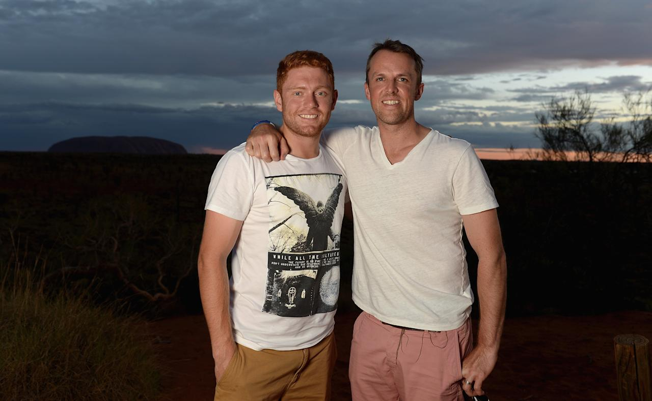 AYERS ROCK, AUSTRALIA - NOVEMBER 26:  Graeme Swann and Jonathan Bairstow of England pose for a photograph during a team visit to Uluru, which is also known as Ayers Rock, on November 26, 2013 in Ayers Rock, Australia.  (Photo by Gareth Copley/Getty Images)