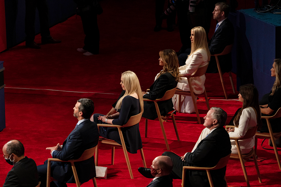 President Trump's four grown children and First Lady Melania Trump, all without masks, at the first presidential debate between Trump and his Democratic challenger Joe Biden at Case Western Reserve University in Cleveland on Sept. 29, 2020.