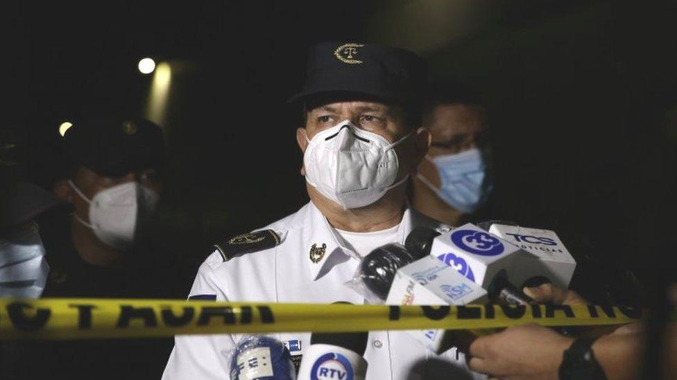 The Director of the National Civil Police of El Salvador Mauricio Arriaza Chicas speaks to the press in the area where six people were killed, in San Salvador, El Salvador, 11 October 2020.