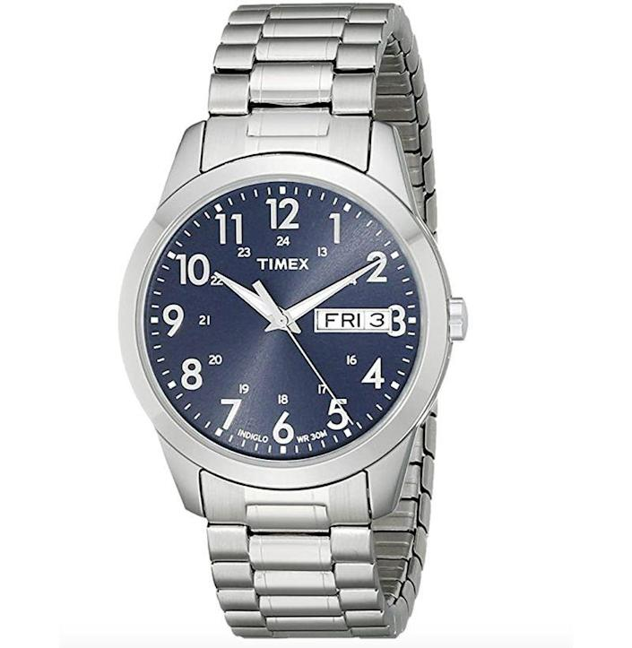 """<p><strong>Timex</strong></p><p>amazon.com</p><p><strong>$39.54</strong></p><p><a href=""""https://www.amazon.com/dp/B001RNOAM8?tag=syn-yahoo-20&ascsubtag=%5Bartid%7C10054.g.35351418%5Bsrc%7Cyahoo-us"""" rel=""""nofollow noopener"""" target=""""_blank"""" data-ylk=""""slk:Shop Now"""" class=""""link rapid-noclick-resp"""">Shop Now</a></p><p>The only time being really, truly blue in the face is an appropriate look. </p>"""