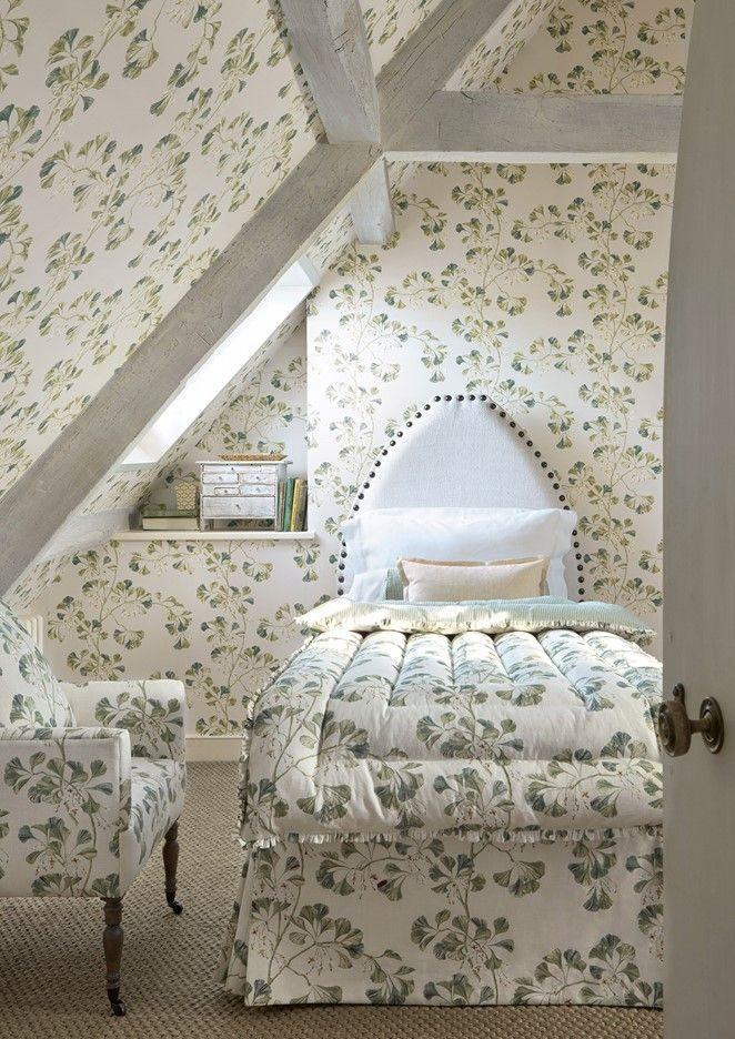 """<p>Matching your wallpaper to your upholstery can make for a charming, country-inspired look. This Greenacre wallpaper balances its busy botanical print with a calming neutral background, making it a great choice for a guest bedroom. Try <a href=""""https://www.colefax.com"""" rel=""""nofollow noopener"""" target=""""_blank"""" data-ylk=""""slk:Colefax and Fowler"""" class=""""link rapid-noclick-resp"""">Colefax and Fowler</a> for matching wallpaper and fabric. <br></p><p>Pictured: <a href=""""https://designs.colefax.com/Design/F4705-01?Bypass=True"""" rel=""""nofollow noopener"""" target=""""_blank"""" data-ylk=""""slk:Greenacre"""" class=""""link rapid-noclick-resp"""">Greenacre</a>, Colefax and Fowler</p>"""
