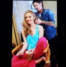 This year's Miss Golden Globe, Greer Grammer, sat pretty with a side part in her beauty chair. @greer_grammer/Instagram