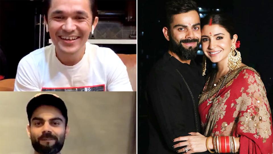 Seen here, the Instagram live chat that saw Virat Kohli's wife call him a liar.
